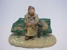 VINTAGE MADE IN FRANCE PLASTER SCULPTURE OF OLD WOMAN with CATS ON A BENCH