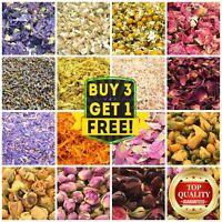 25g Dry Flowers & Dried Petals 60+ Types! Tea Soap Candle Cake Decor Bath Crafts