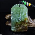100% Natural Hand-carved Jade Pendant Jadeite Necklace landscape 301H