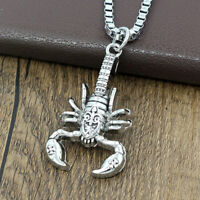 Men's Punk Necklace Scorpion Pendant Hip Hop Silver Box Chain Jewelry