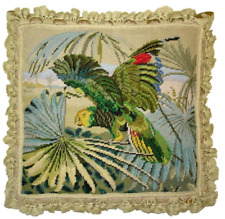 "19"" x 20"" Handmade Wool Needlepoint Parrot Bird Pillow"