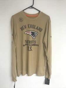 Nike New England Patriots Mens 2019 Salute to Service Long Sleeve Tee Tan - Med