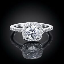 18K white gold plated GP crystal CZ engagement wedding ring US size 8 + gift bag