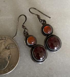 Vtg Sterling Silver Modernist Earrings Garnet Carnelian Cabochon Hook Drops
