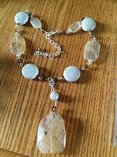"Beige Fossil Glass Agate Cream colors Necklace and Drop Pendant 16"" Silver tone"