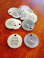 Antique Silver  LIVE LAUGH LOVE charms / pendant x 10