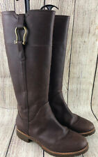 Sperry Brown Leather Side Zipper Knee Height Boots Shoes Women's Size 7.5 M