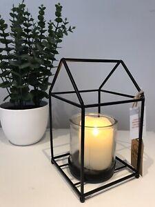 Simplistic Stylish Black Metal & Glass Lantern Candle Tea Light Holder