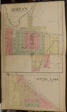 Minnesota Nobles County Map Round Lake Adrian 1914 Double Page L15#27