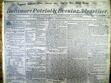 Sept 20, 1814 Baltimore Patriot newspaper with 1st printing STAR SPANGLED BANNER