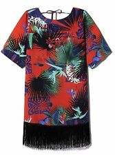 BIBA TROPICAL PRINT FRINGED KIMONO DRESS BEACH COVER UP RETAIL £99 SIZE 8/10