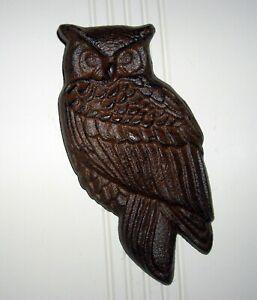 """Antiqued Brown CAST IRON OWL Doorknocker  8 1/4"""" High Door Knocker  ~New~"""