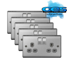 5 x BG Nexus NBS22G Brushed Steel/Satin Chrome 13Amp Double Plug Socket 2 Gang