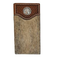 Nocona Western Men Wallet Leather Hair On Inlay Spur Rowel Concho Brown N5447202