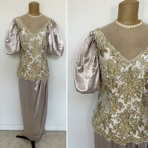 Vintage Alyce Designs Taupe Satin Beaded Sequin Lace Puff Sleeve Formal Gown 10