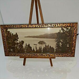 VINTAGE ANTIQUE 1922 PRINT PICTURE LAKE & BOAT WITH GOLD FRAME. FANTASTIC