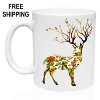 Art Beautiful Deer, Roses, Wild, Birthday Gift Mug 11 oz, Coffee/Tea