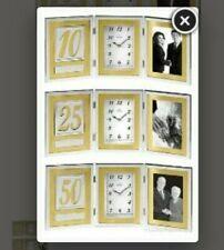 BULOVA MEDALLION 10 25 & 50 ANNIVERSARY PICTURE FRAME DESK CLOCK #1233 $69 GOLD