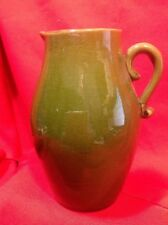 Green Pottery Pitcher w/applied Handle Syrup Milk Cream Chocolate *FREE SHIPPING