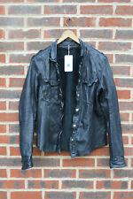 **AWESOME** All Saints Mens MCKAY Leather Shirt Jacket MEDIUM BLACK Moto