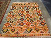 Hand-Woven Geometric 5x8 Kilim Reversible Oriental Area Rug Wool Area Rug Carpet