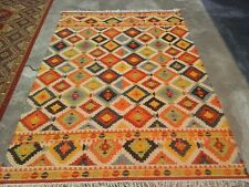 Hand-Woven Geometric 5x8 Kilim Reversible Oriental Area Rug Wool Area Rug Carpet