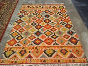 Hand-Woven Geometric Kilim Reversible Oriental Area Rug Wool Area Rug Carpet 5x8