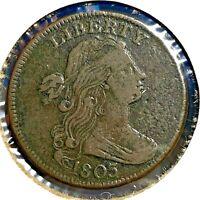 1803 1C Draped Bust Cent , S-257, R-2 (56355)