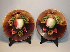 Paire Assiettes Trompe L'Oeil - Pommes en Barbotine - Orchies Moulin des Loups