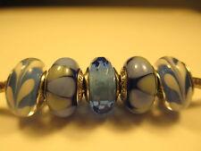 5 Pandora Silver 925 Ale Captivating Blue Swirly Swirl Murano Glass Beads Charms