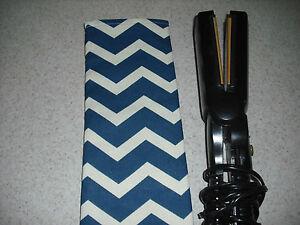 "1"" Flat Iron / Curling Iron Cover - Sleeve / Blue & Ivory Chevron Stripe"
