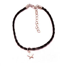 Dainty Star Leather Anklet,Boho,Bohemian,Witch,Witchy,Goth,Gothic