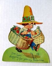 1920s Dimensional Crepe Paper Valentine's Day Card Carrying Basket of Flowers