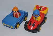 PLAYMOBIL 1-2-3 lot of 2 Cars & Figures 1990