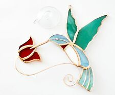 Beautiful Copper & Stained Glass Hummingbird Sun Catcher With Red Flowers - P...