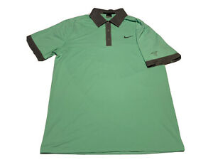 Nike Golf Tiger Woods Collection Dri-Fit Polo Shirt Snap Button M Green Heron