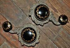 Antique Set Of 2 Cast Iron,  Hand Painted Black & Gold Porcelain Window Winders