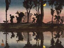 Pinturas De Paisaje Helen Hyde Moonlight Viga Canal México reflejan impresión lv3206