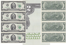 1976 $2 Star 4 Note Uncut Sheet Cleveland District FR# 1935-D* W/BEP Card
