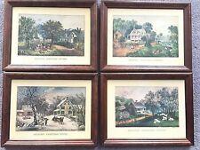 93835aadfacc Set of 4 Vintage Currier   Ives Homestead Wood Framed Pictures 14x18