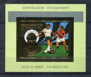 s5101) DAHOMEY 1974 MNH** WC Football - Coppa Mondo Calcio S/S GOLD IMPERF
