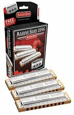 New Hohner Diatonic Harmonica Marine Band Pro Pack 3P1896BX Key of G, A & C