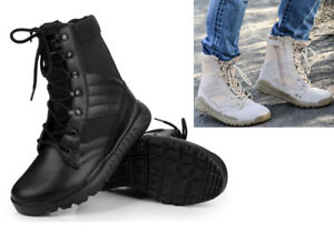 Men Leather Military Ankle Boots Army Boot SWAT Tactical Combat Climbing Shoes