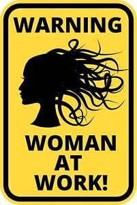 Funny Warning Sign Danger Blonde At Work Women Sticker Self Adhesive