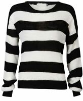 Ladies Black White Monochrome Stripe Jumper Womens Long Sleeve Chunky Knit Top