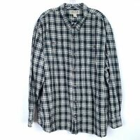 DULUTH TRADING 100% cotton plaid button shirt long sleeves pockets mens size 3XL