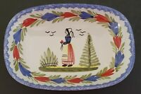 HB Quimper Breton Woman Hand Painted Oval Dish Made In France Art Pottery 7""
