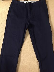 **BRAND NEW** Men Lacoste Regular Fit Flat Front Chino Pants Navy Blue 33 x 32