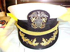 Slightly Used US.Navy Officer Combo White Cloth Captain-Commander Hat Size 7 1/4