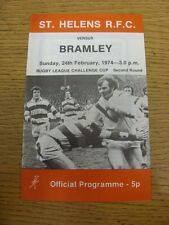 24/02/1974 programma Rugby League: ST. Helens V Bramley [CHALLENGE Cup] (lievi F